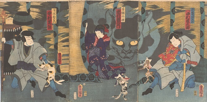 三代歌川豊国/古猫の怪/1861年