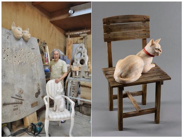 彫刻家・島田紘一呂氏と猫の木彫り作品