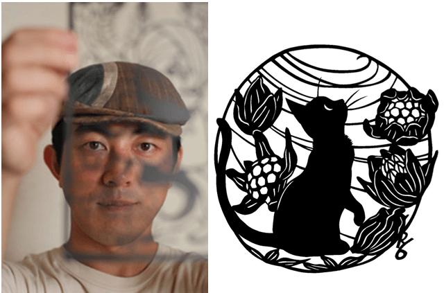 切り絵作家の高木亮さんと猫の切り絵作品