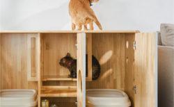 猫トイレを2台まるごと収納できるニャ!台湾メーカーが開発した北欧風のキャビネット