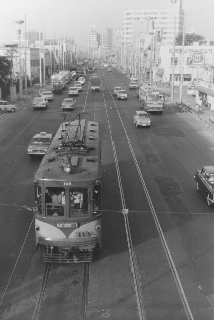 1969年5月頃の玉川線(真中〜駒沢間)