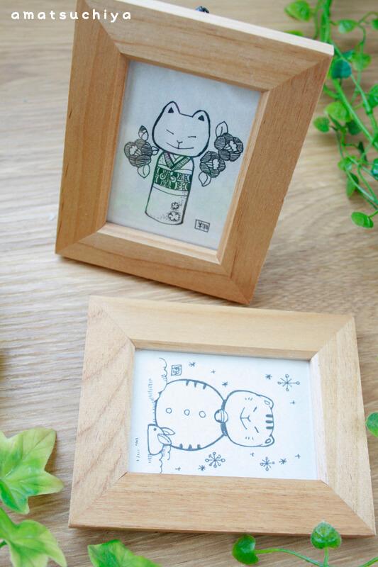猫イラストのミニ原画 by天地翔