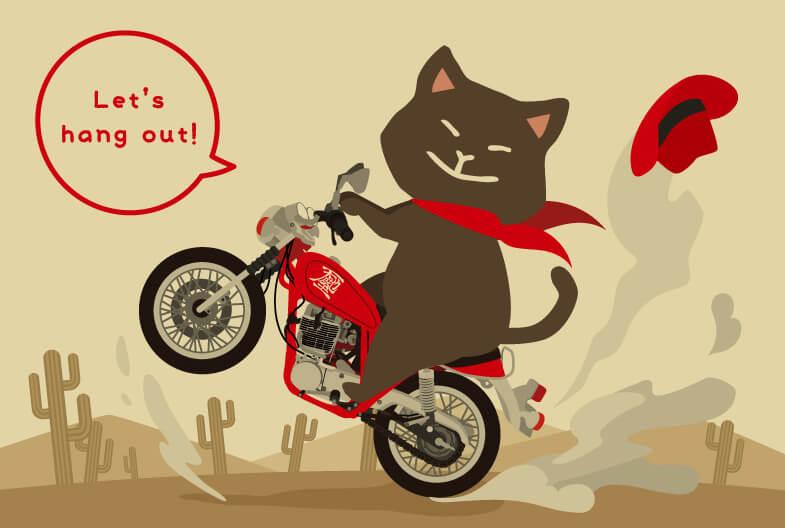 猫イラストのポストカード by天地翔