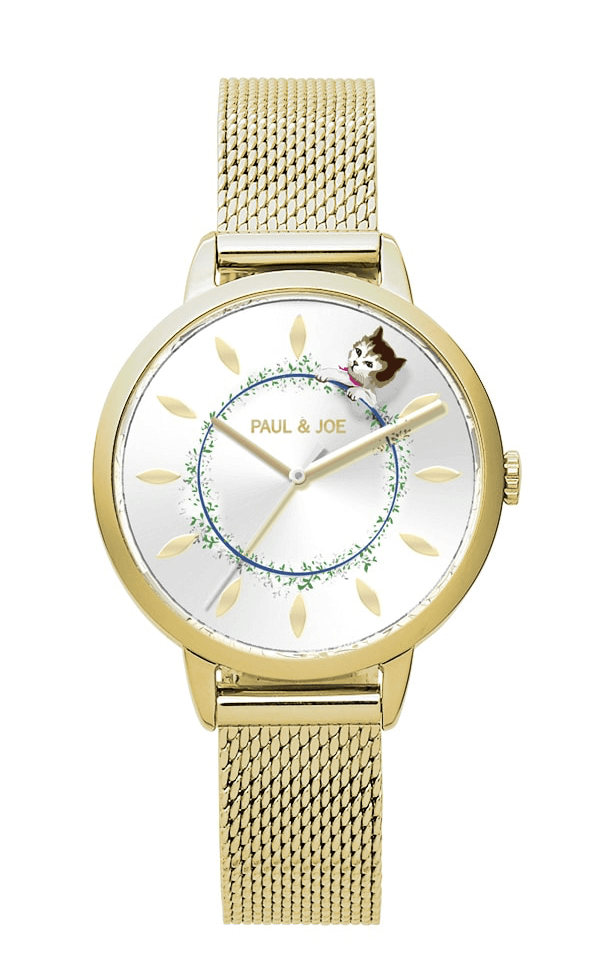 PAUL & JOEの猫モチーフ腕時計「Timeless Cat(タイムレスキャット)」ゴールドカラー