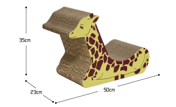 キリン型の爪とぎベッド 製品サイズ