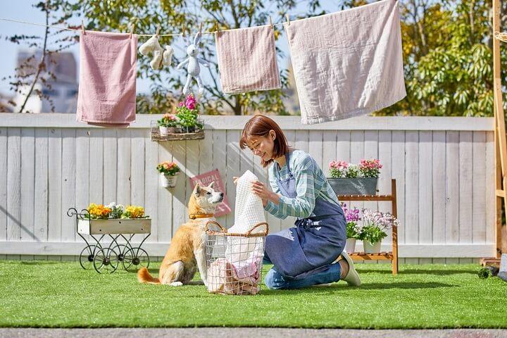 ペット用の消臭洗濯洗剤「ランドリーきらら」を使った洗濯イメージ