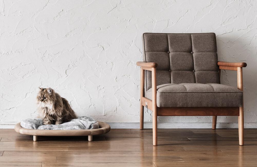 KARIMOKU CAT BEDを部屋に配置したイメージ(拡大画像)