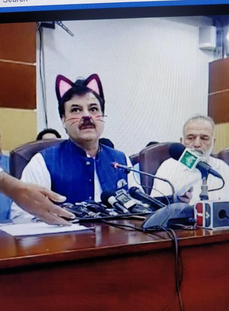 パキスタンの政治家が猫耳姿で記者会見を行った様子