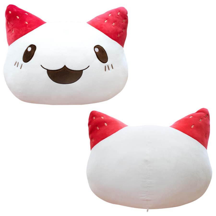 アニメ「刀使ノ巫女(とじノみこ)」に登場する猫キャラクター「イチゴ大福ネコ」のクッション