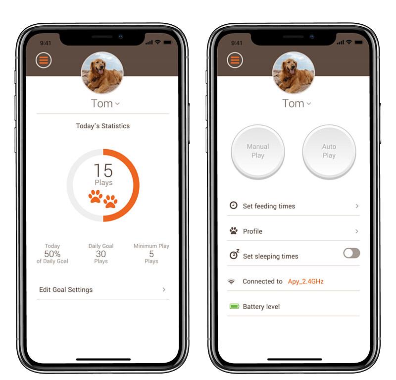 ペット用の球体型おもちゃ「easyPlay(イージープレイ)」のアプリ画面イメージ