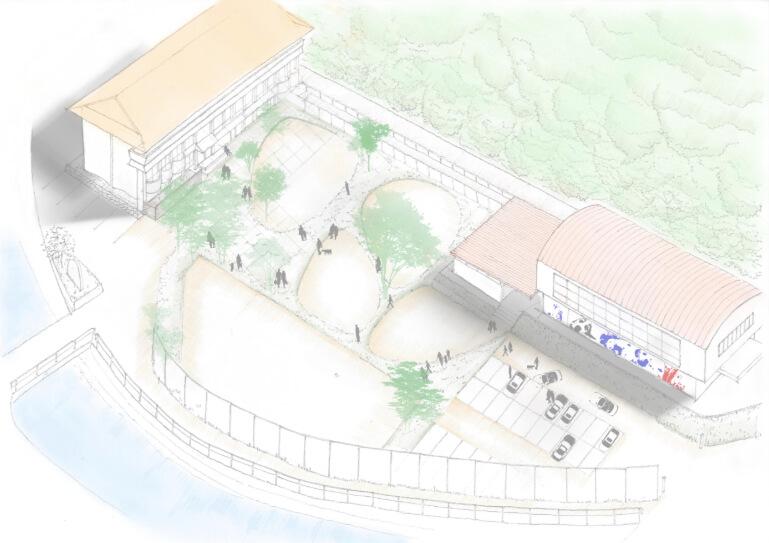 犬猫保護シェルター「ティアハイム小学校」の完成イメージ(俯瞰図)
