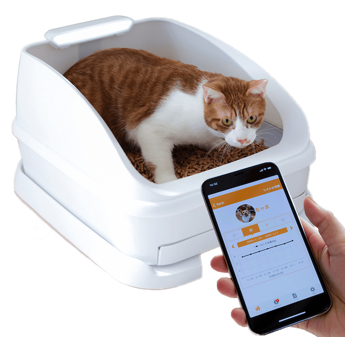 スマートねこトイレ「toletta(トレッタ)」のトイレ本体と専用アプリイメージ