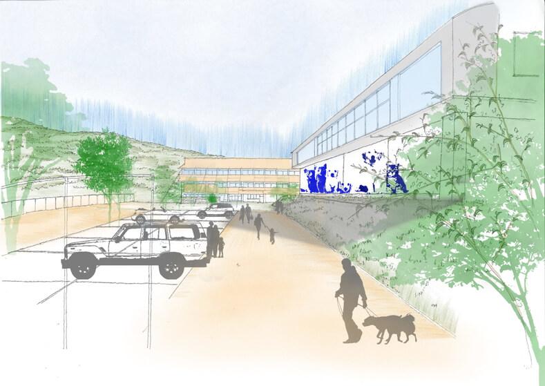 犬猫保護シェルター「ティアハイム小学校」の完成イメージ