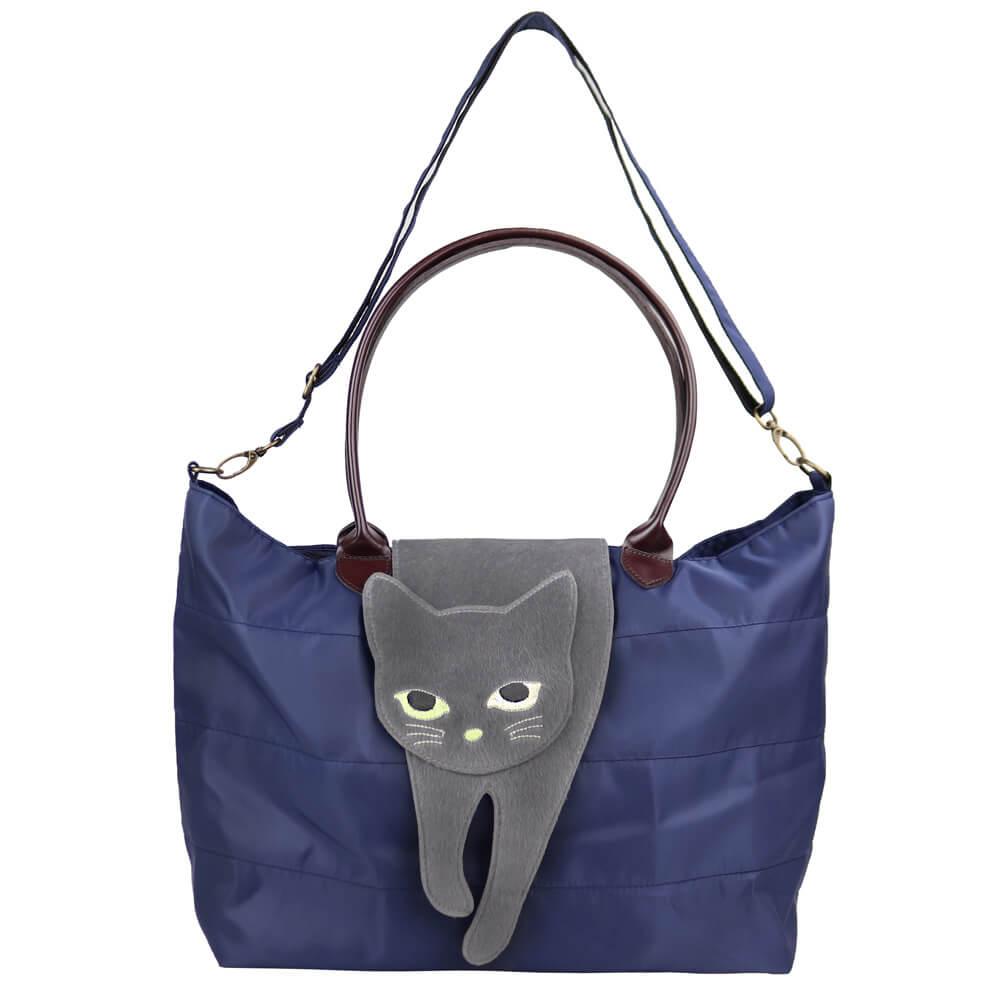 猫が上に乗ったバッグ「のび猫 2WAYトート」(ネイビーカラー)製品イメージ