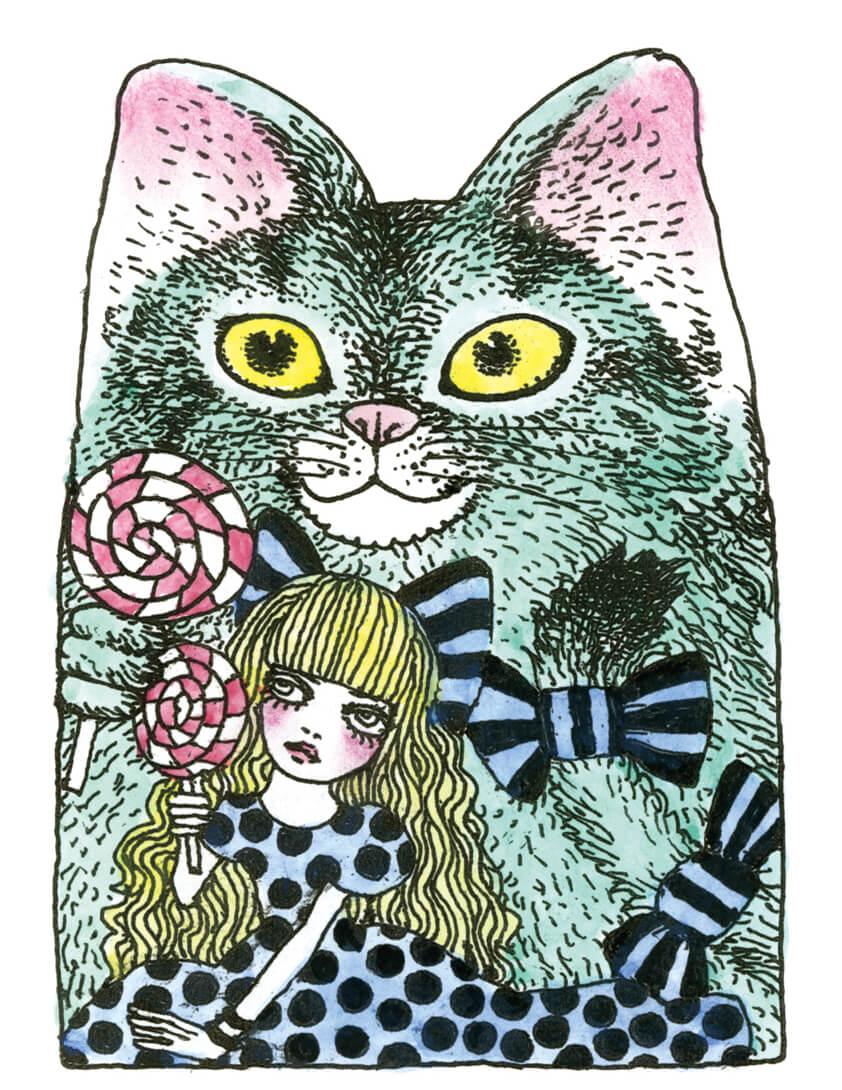 宇野亞喜良が描き下ろした新シリーズ「SUNACO」の原画