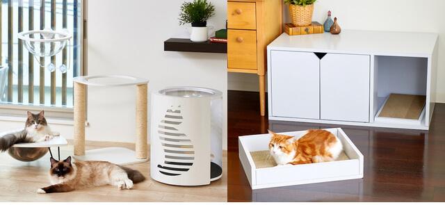 オーエフティーの新着猫用品「キャットクリアカプセル」と「ホワイトファニチャー」