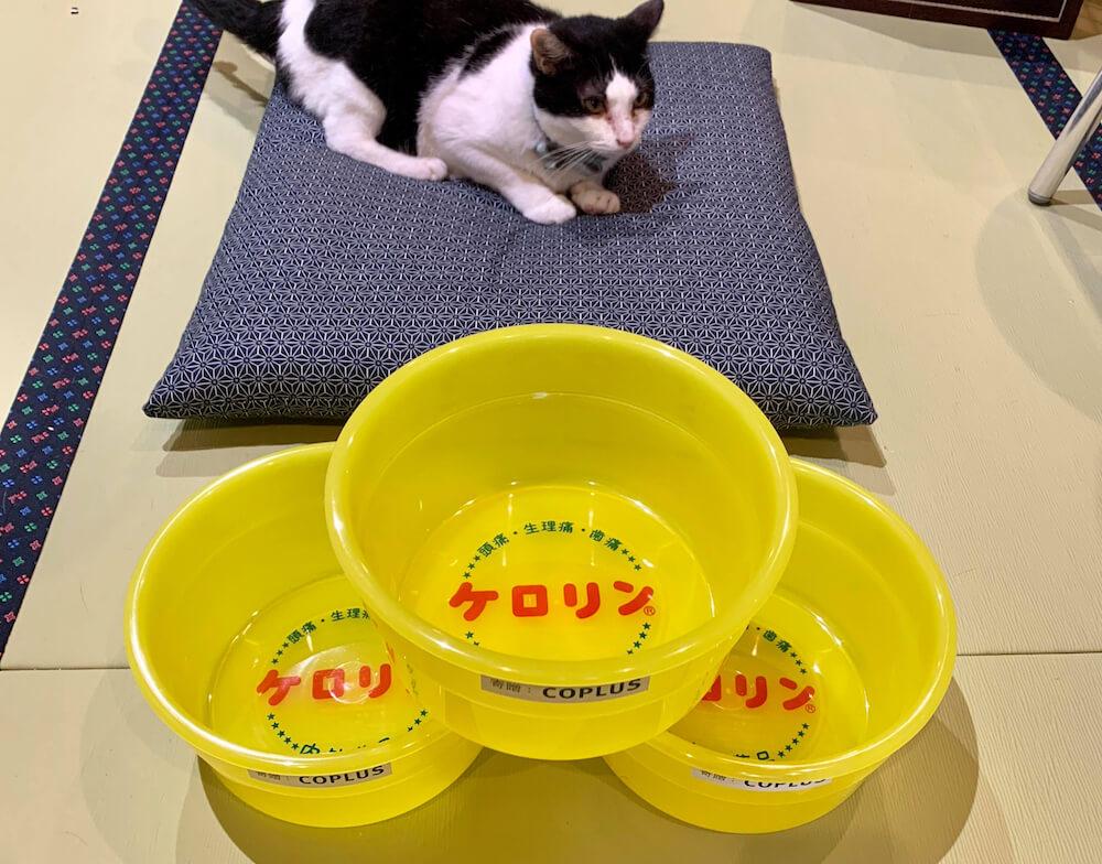 荷物入れは黄色いプラスチック製の湯桶「ケロリン桶」
