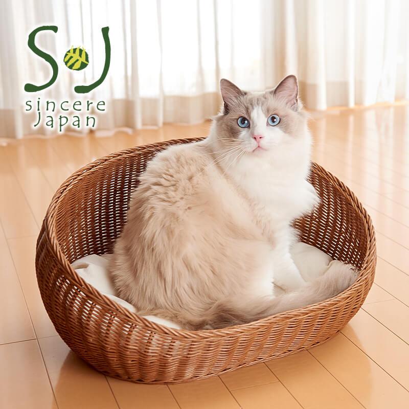 ラタン製のユニークな猫ベッドを販売しているshincere japan(シンシアジャパン)