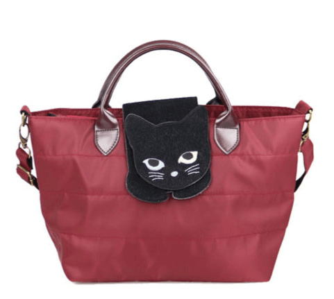 猫が乗ったバッグ「のび猫 ミニショルダー」レッドカラー