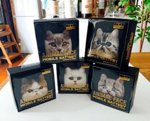 猫のモバイルバッテリー「にゃんこチャージ」の製品パッケージ