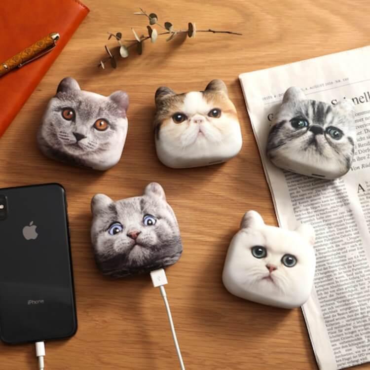 リアルな猫の見た目をした外見のモバイルバッテリー「にゃんこチャージ」(全5種