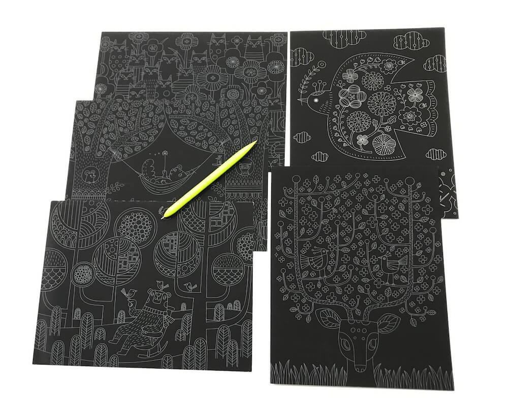 スクラッチアート書籍「おとぎの楽園物語」に収録されている下絵5枚(ネコの楽園、やさしいシカ、ヤマバトの花便り、森のクマさん、リラックスリス) by ヨシヤス