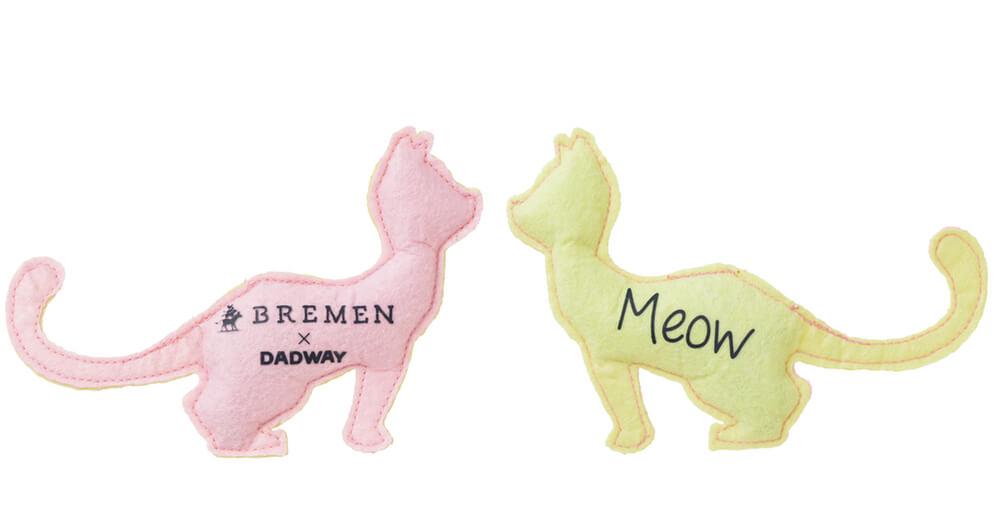 猫用のフェルト・トイ(キャット)の表と裏のデザイン