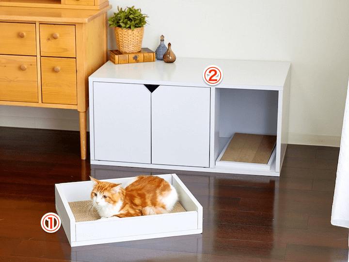 スタイリッシュな家具調猫用品ホワイトファニチャーの「スクラッチベッド」と「トイレカバー」製品イメージ