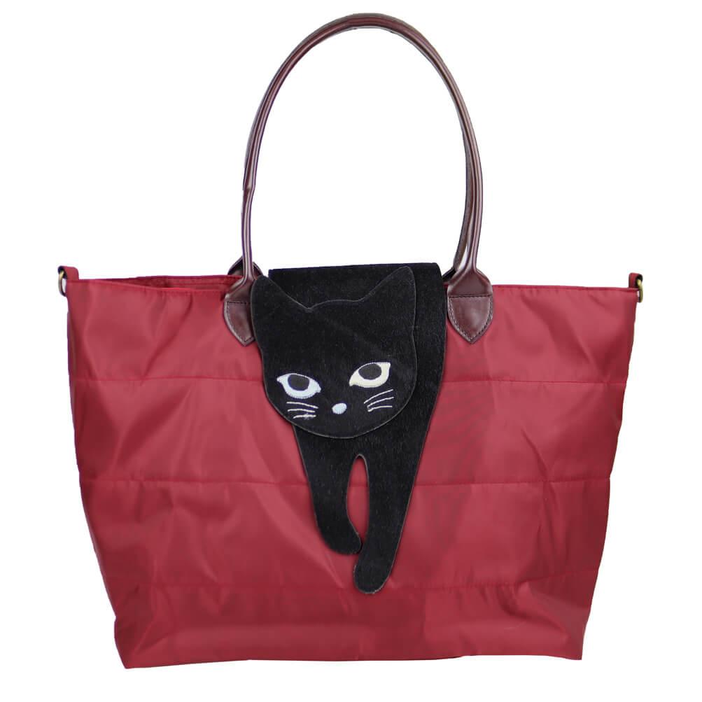 猫が上に乗ったバッグ「のび猫 2WAYトート」(レッドカラー)製品イメージ