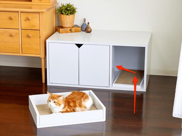 「ホワイトファニチャー」トイレカバー ワイドの猫トイレ内への動線イメージ