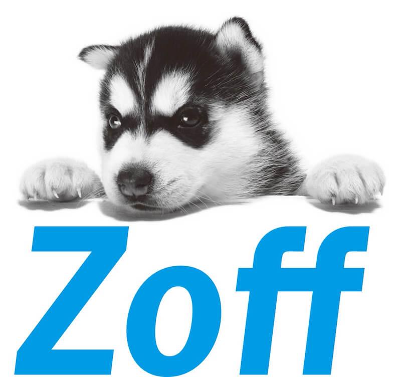 看板犬にシベリアンハスキーを起用したZoff(ゾフ)のロゴ