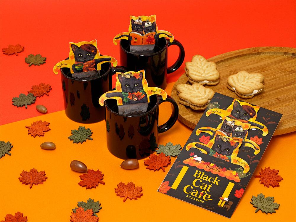黒猫のティーバッグ「キャットカフェ」シリーズの秋フレーバー by 日本緑茶センター