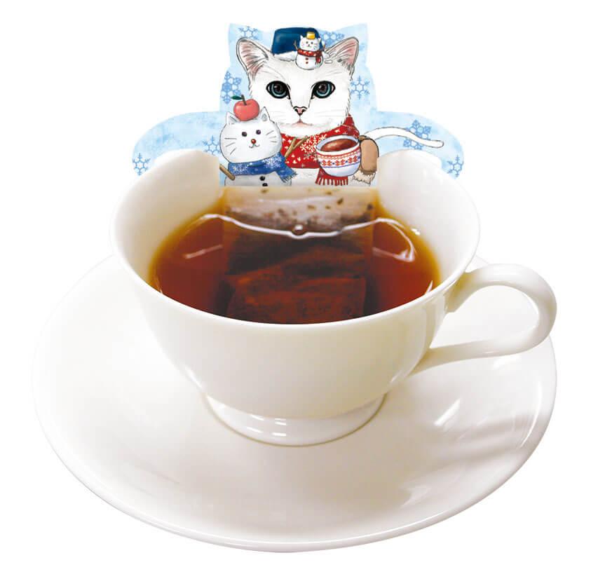 紅茶風呂に浸かっているように見える「ホワイトキャットカフェ(アップルティー)」使用イメージ