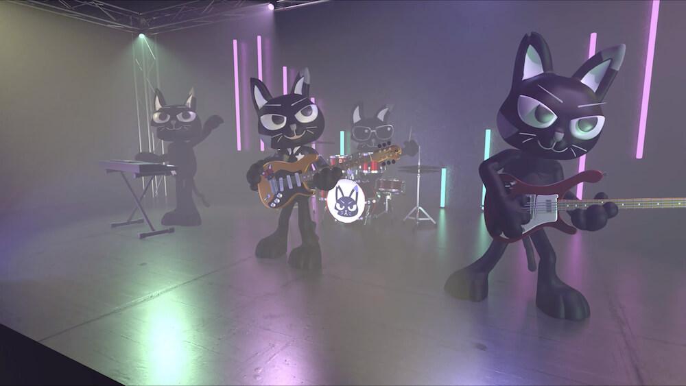黒猫のバーチャルバンド「AMOW」の演奏風景