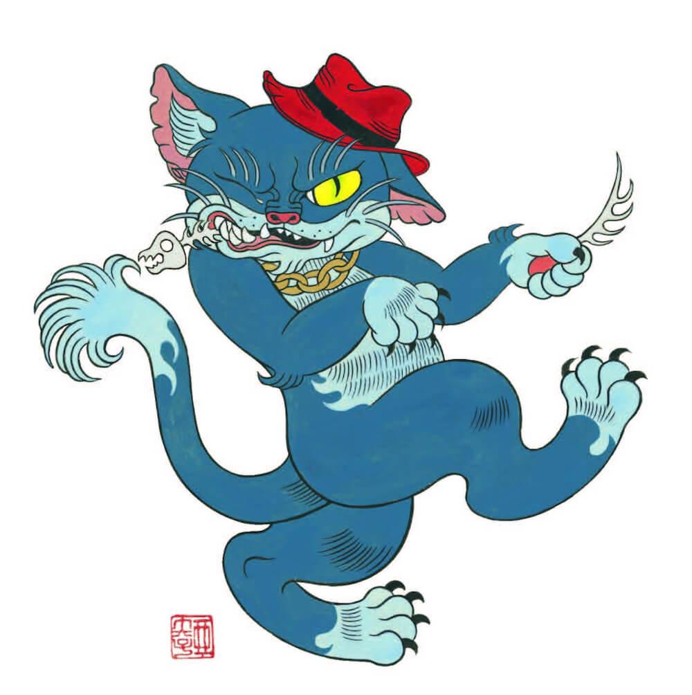 リーバイス原宿フラッグシップストアの看板ネコキャラクター「スバイリー」のイラスト by 石黒亜矢子