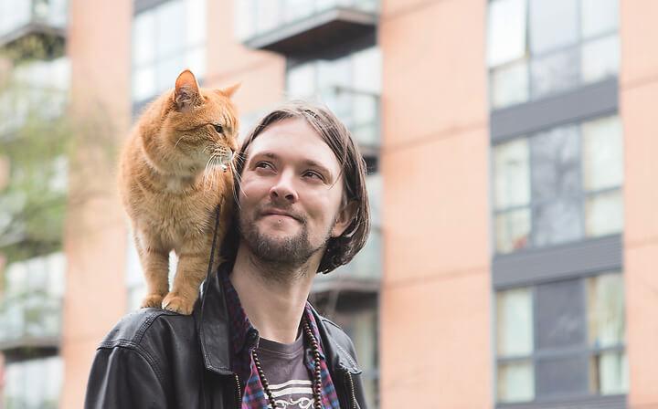 ジェームズの肩に乗る猫のボブ by 書籍「ボブが教えてくれたこと」