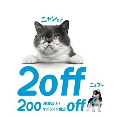 Zoff(ゾフ)の猫キャンペーン「200種類以上!オンライン限定off」
