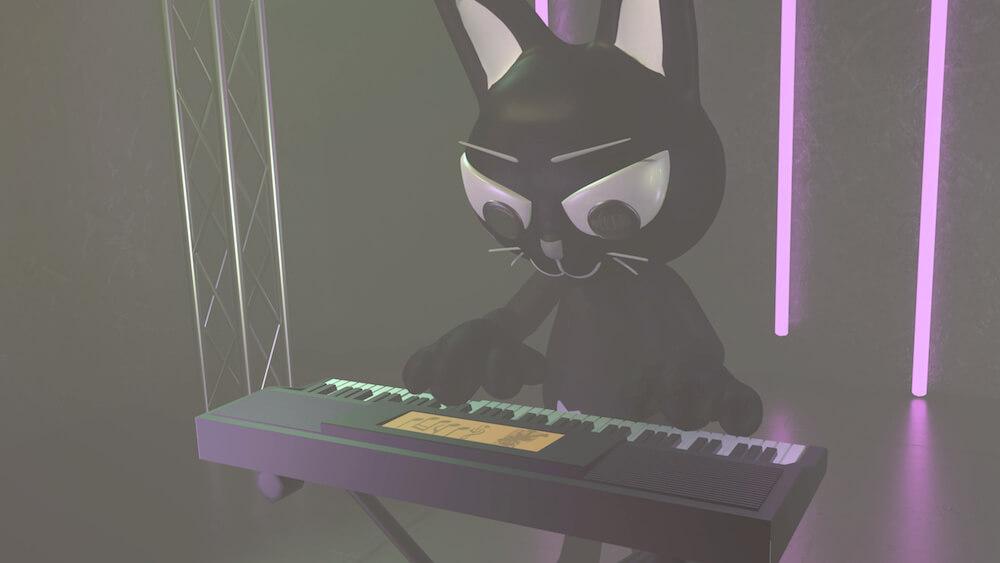 キーボードを演奏する黒猫のバーチャルキャラクター by AMOW