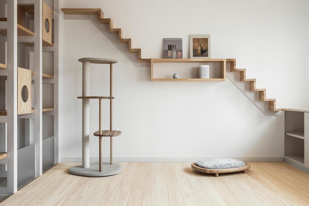 猫用フローリング材「NEKOFLOOR(ネコフロア)」ヒノキを設置した室内イメージ