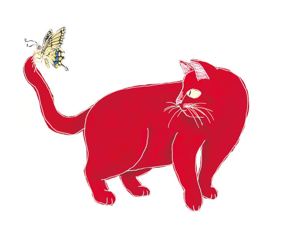 絵本「ねこがさかなをすきになったわけ」に登場する赤い猫