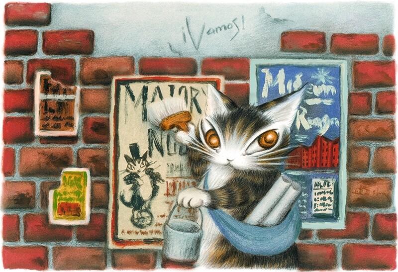 猫のダヤンの原画「タシルの赤レンガ」 by 池田あきこ
