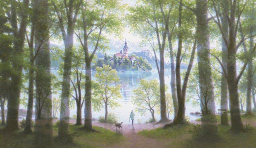 風景画「心静まる/Lake Bled」 by 笹倉鉄平