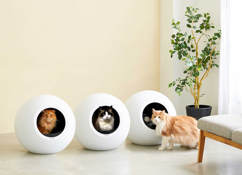全自動猫トイレ「CIRCLE 0(サークル ゼロ)」を3つ並べたイメージ