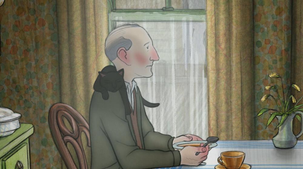 エセルの亡き後アーネストの話し相手になる黒猫のスージー by アニメ映画「エセルとアーネスト ふたりの物語」