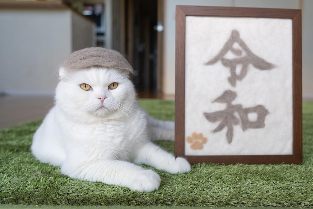 令和元年をモチーフにした猫の抜け毛作品 by rojiman