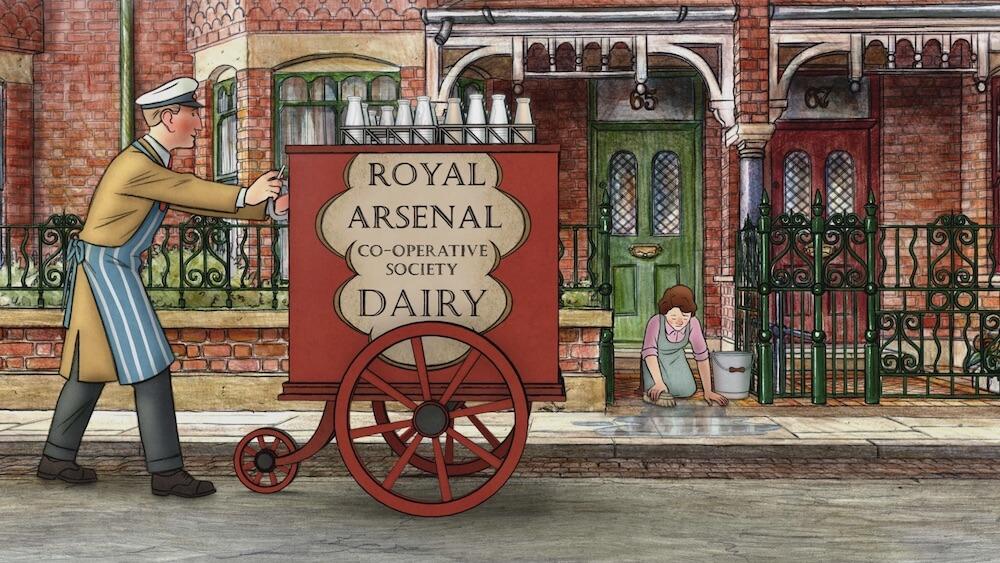 牛乳配達員の仕事をするアーネストby アニメ映画「エセルとアーネスト ふたりの物語」