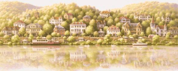 風景画「やわらかな休日/Riverside of the Neckar」 by 笹倉鉄平