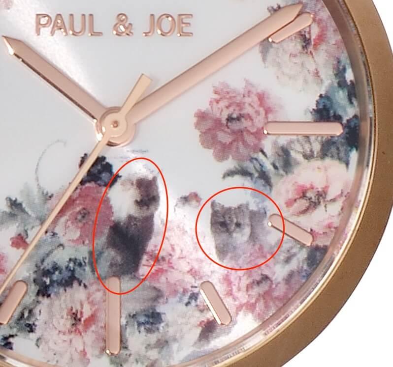 腕時計の拡大写真、猫が潜んでいる場所 by ポールアンドジョーの新作ウォッチ Gipsy & Nounette(ジプシー アンド ヌネット)