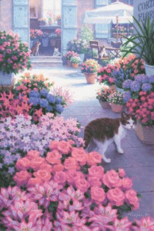 風景画「ロメオのいる花屋/Un Cortile Pieno di Fiori」 by 笹倉鉄平