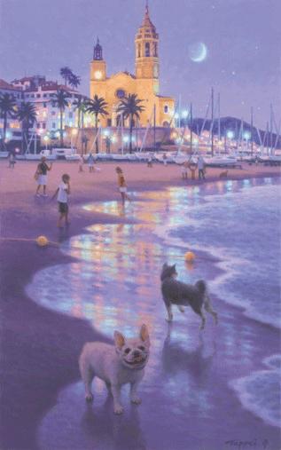 風景画「素足で浜辺を…/Barefoot on the Beach」 by 笹倉鉄平